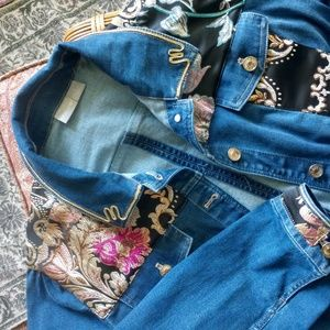 Oversized Denim Jacket with Embroidered Panels